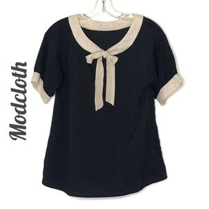ModCloth Navy and cream bow blouse size M